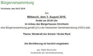 Bürgerversammlung am 3. August 2016